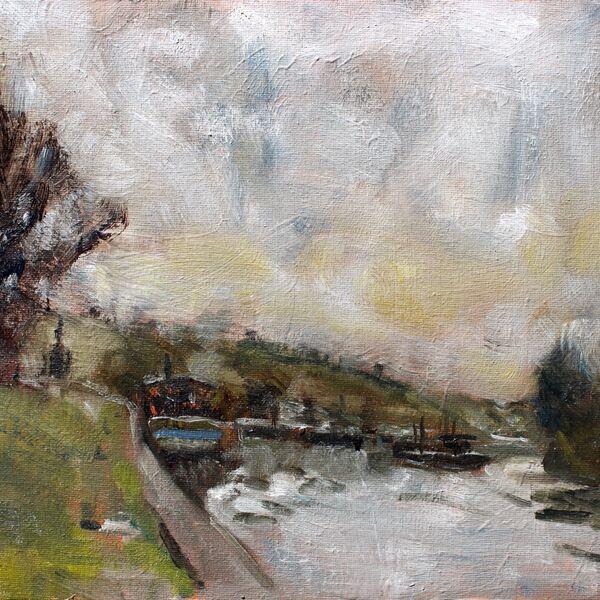Landscape oil painting study skyline boats sea James P McAteer