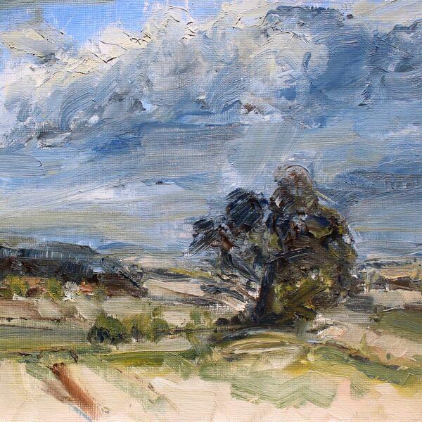 Landscape oil painting study trees sky James P McAteer
