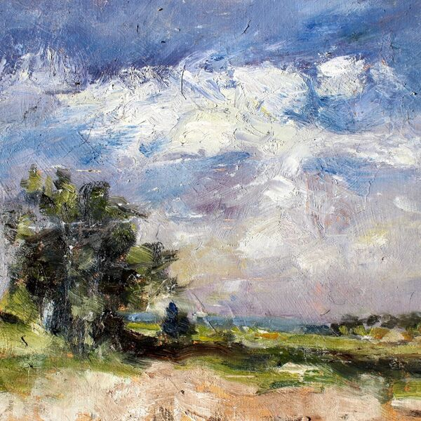 Landscape oil painting study of trees skyline in summer - (24cm x 35cm Oil on canvas board) James P McAteer
