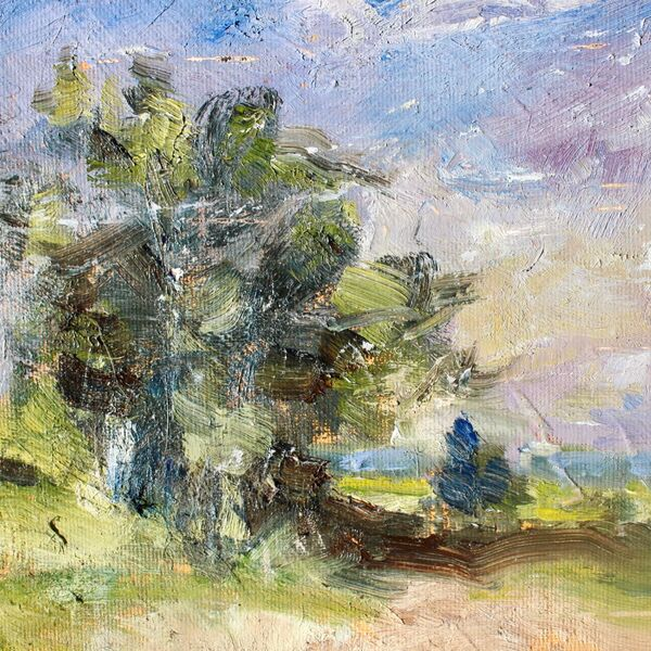 Landscape oil painting edward seago study trees skyline summer detail James P McAteer (NOT FOR SALE)