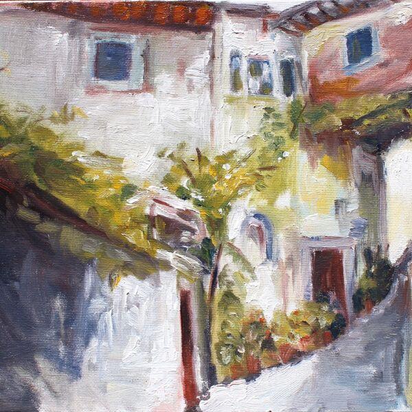 Landscape oil painting study Italian village James P McAteer