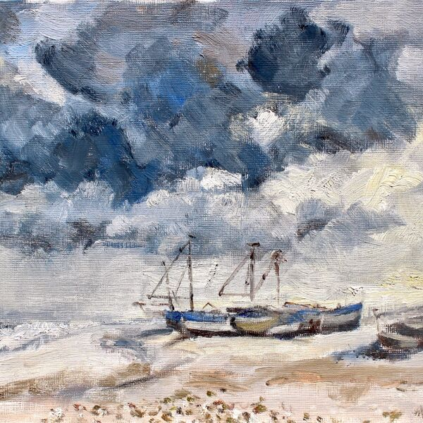 Landscape oil painting study shore sea and boats James P McAteer