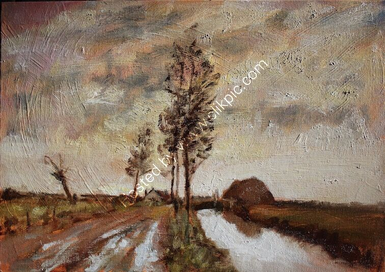FOR SALE Landscape oil painting on canvas board Canal and cottages by James P McAteer