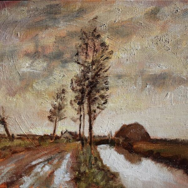 Landscape oil painting on canvas board Canal and cottages by James P McAteer