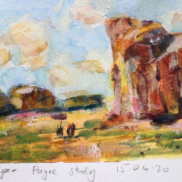 Watercolour painting Edgar Payne study horses James P McAteer