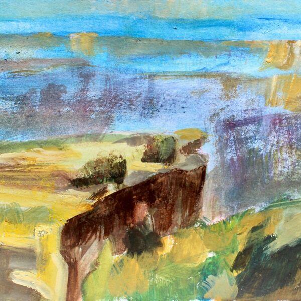 Watercolour painting Nathan Fowkes canyons James P McAteer jpeg