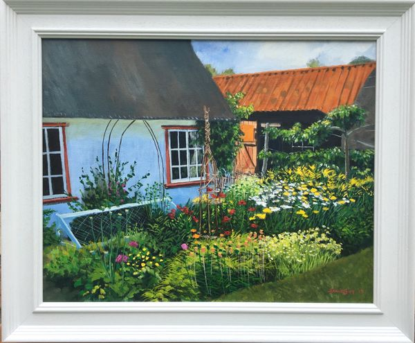 """'The Fen Keepers Cottage, Wicken Fen', acrylics on canvas, 20""""x16"""""""