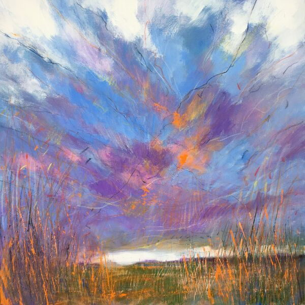 Contemporary mixed media painting of the fens of East Anglia