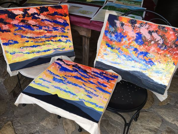 15 some of the acrylic palette knife paintings created on the course