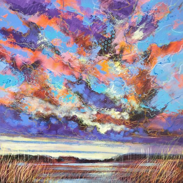 Contemporary mixed media painting of the north Norfolk coast