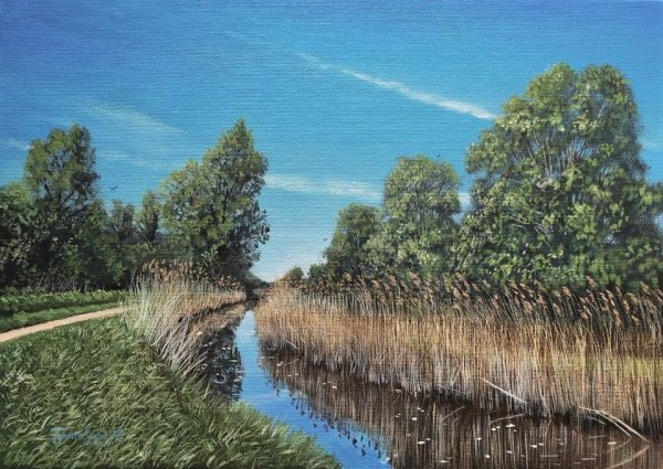 "Down by the lode at Wicken, Oils on board, 14""x10"", SOLD"