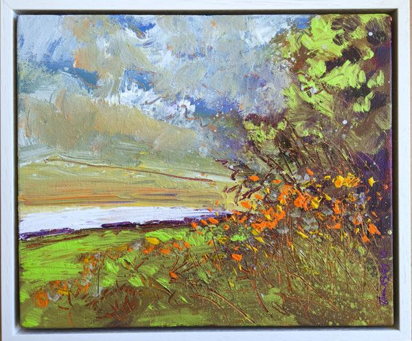 "'By the lode near Gutterbridge Woods on Downing Farm', acrylics on canvas, 12""x10"""