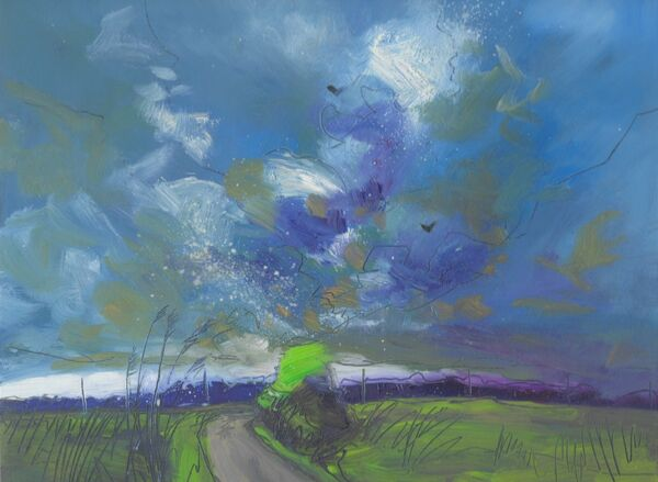 Contemporary oil painting of the fens of East Anglia