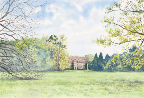 Anglesey Abbey, Watercolour on paper, A3