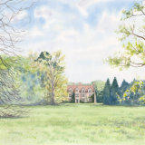 Anglesey Abbey, Watercolour on paper, A3, mounted and framed in oak