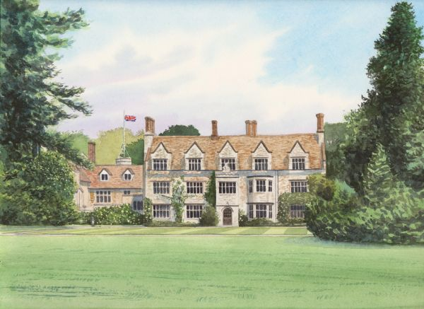 SOLD Anglesey Abbey, Watercolours on paper, 12x9