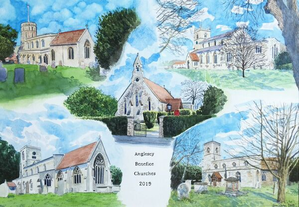 Anglesey Benefice Churches, watercolours, A3 size