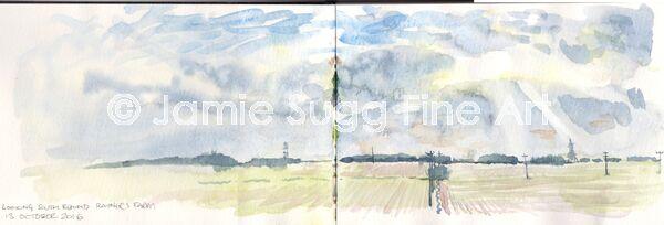 Behind Rayners Farm, watercolour in moleskine sketchbook
