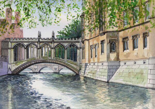 Bridge of Sighs St Johns, watercolours, A4 size