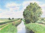 Burwell Fen, Watercolours on paper, 12x9