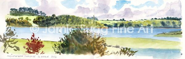 Carsington Water sketch, watercolour in moleskine sketchbook