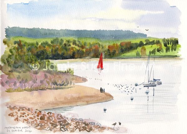 Carsington Water, watercolour in moleskine sketchbook