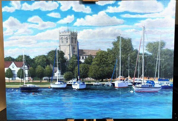 Christchurch Harbour, acrylics on canvas A2 size