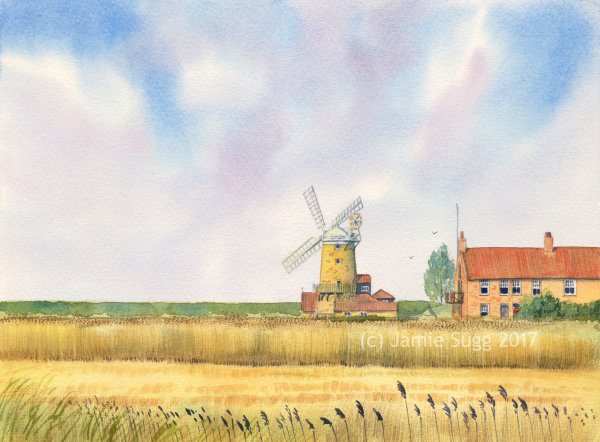 Cley Windmill, Norfolk, Watercolour on Paper, A3