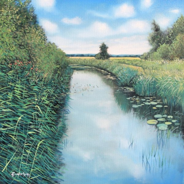 Down by the lode, Wicken Fen, Oils on Canvas, 40cm sq SOLD