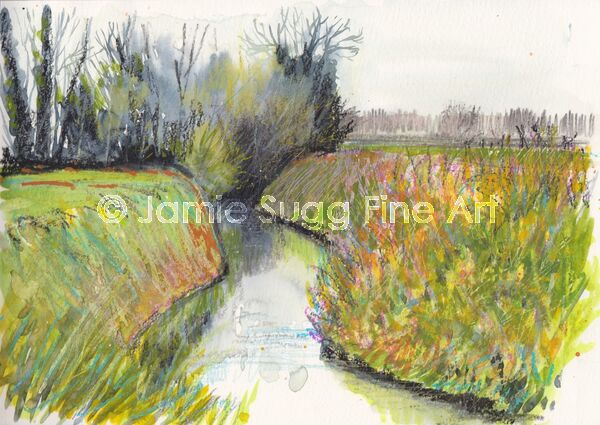Down by the lode, watercolour and oil pastels in moleskine sketchbook