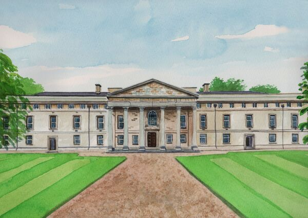 Downing College, watercolours, A4 size