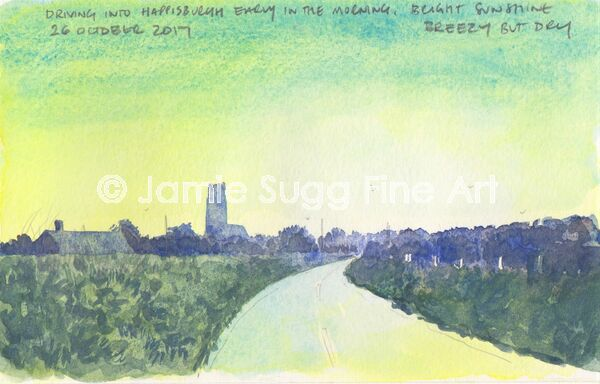 Driving into Happisburgh Sketch