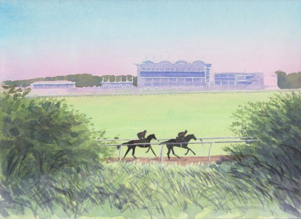 Early Morning Gallop at Newmarket Racecourse, Watercolours on paper, 12x9
