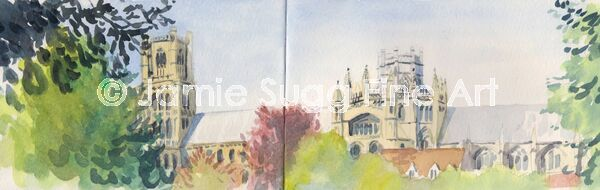Ely Cathedral Sketch, watercolour in moleskine sketchbook