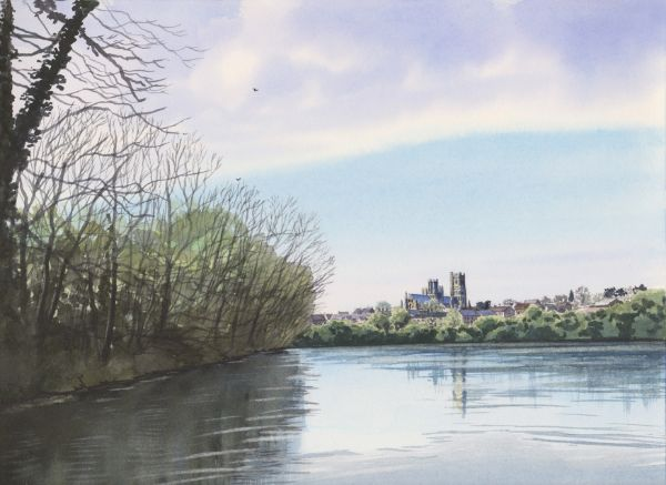 Ely Cathedral from the Country Park, Watercolours on paper, 12x9