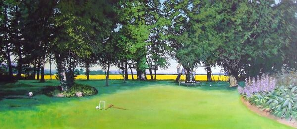 Garden commission, 4ft x 1.5ft, acrylics on box canvas