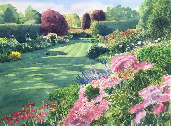 Garden watercolour commission, 16in x 12in, framed