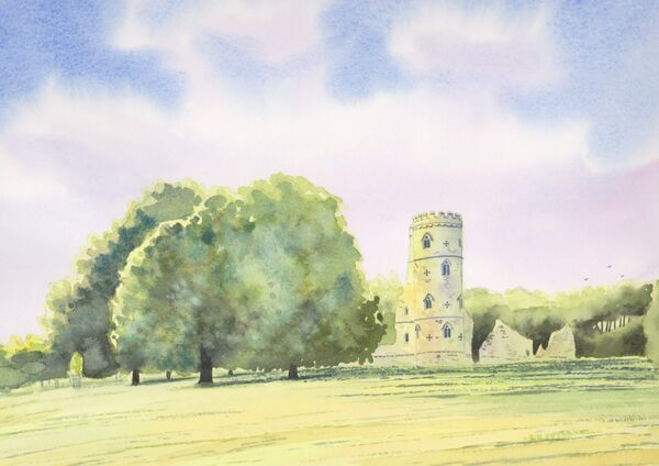 Gothic Tower, Wimpole Estate, watercolours, A4 size