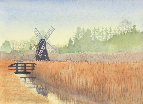 Historic windpump at Wicken Fen, Watercolours on paper, 12x9