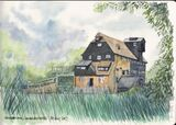 Houghton Mill Sketch, watercolour in moleskine sketchbook
