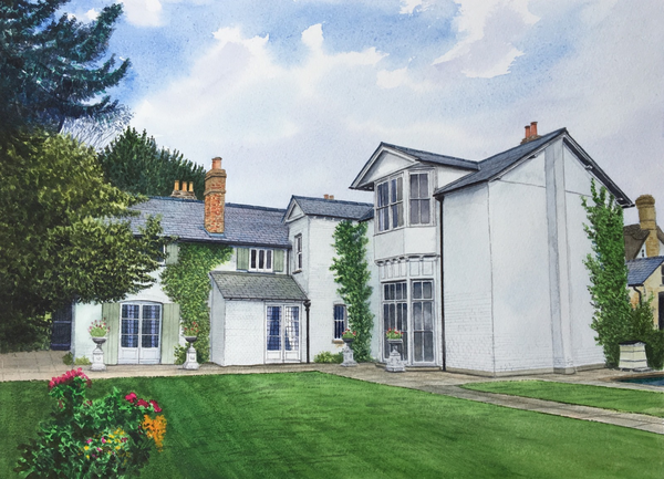 House and garden commission, watercolours, 16in x 12in framed