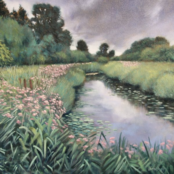 Rain's on its Way (Wicken Fen). Oils on canvas, 40cm sq SOLD