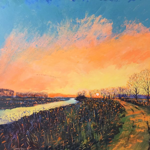 Fens Sunset, Acrylics on Canvas