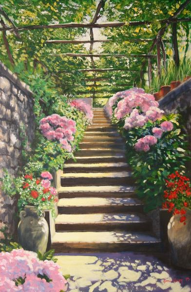 Italian Garden Steps, acrylics on linen canvas.