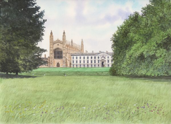 SOLD Kings College Chapel, Cambridge, Watercolours on paper, 12x9