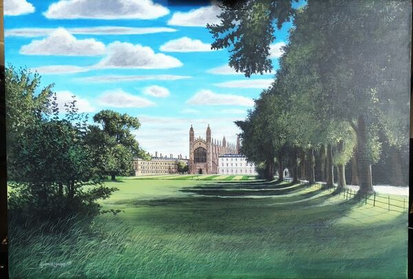 King's College Chapel, acrylics on canvas, A2 size