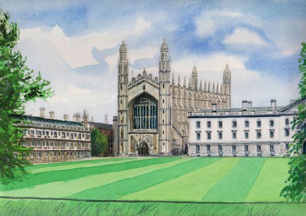 Kings College Chapel, watercolour, A4 size