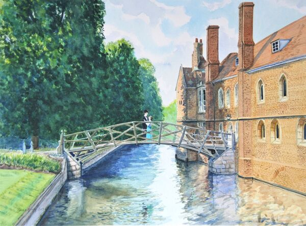 Mathematical Bridge Engagement  Commission, watercolour, 16in x 12in