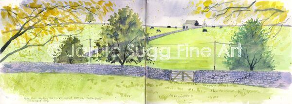 Monsal trail sketch, watercolour in moleskine sketchbook