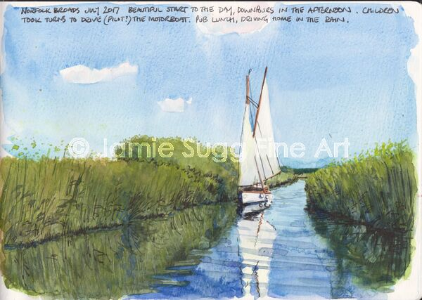 Norfolk Broads Sketch, watercolour in moleskine sketchbook